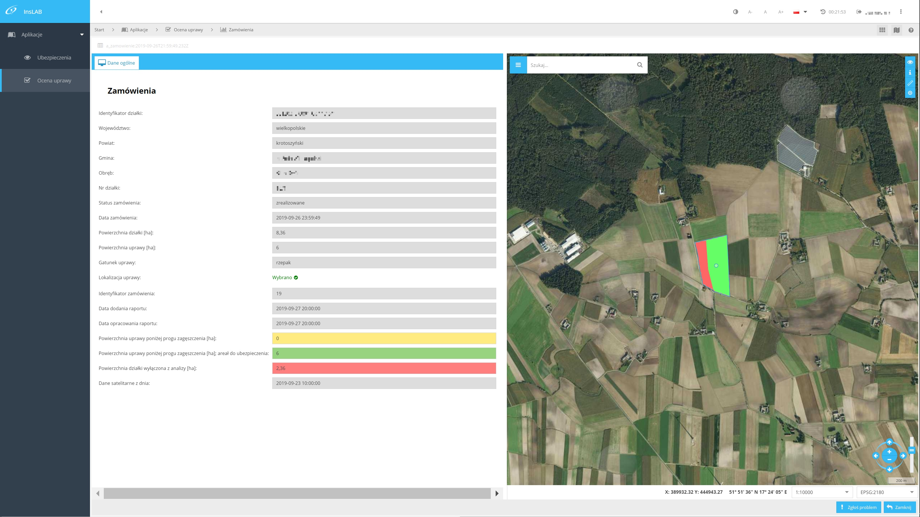 InsLAB.pl - Remote sensing analysis concerning winter crops density